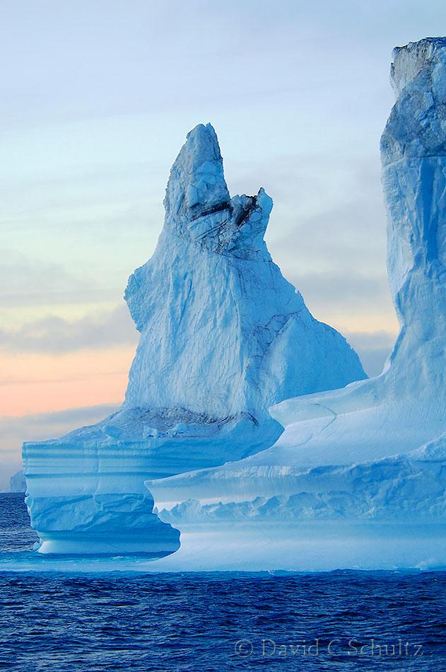 Iceberg at sunset in Scoresby Sund Fjord, 167-266