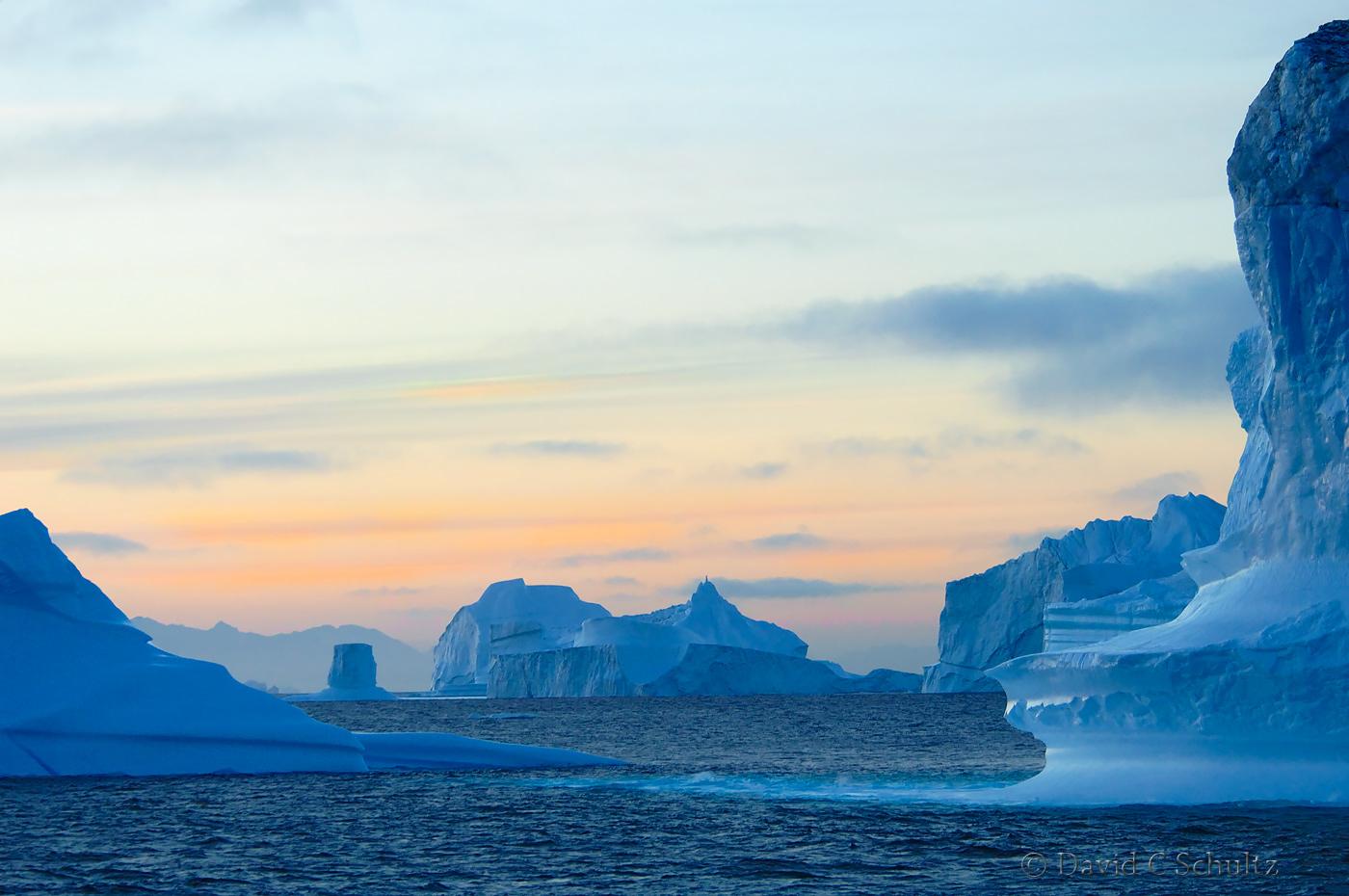 Iceberg at sunset in Scoresby Sund Fjord - Image #167-262