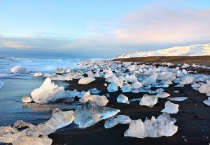Icebaech along the coast of Iceland