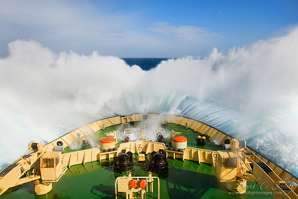 Ship crossing the Drake Passage to Antarctica.
