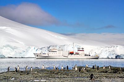 The ship Akademik Sergey Vavilov in Antarctica