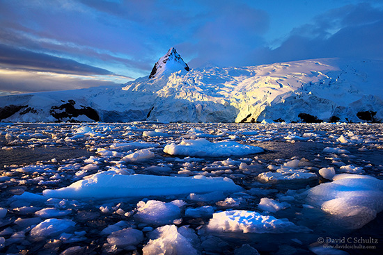 Sunset at Cierva Cove along the Antarctic Peninsula