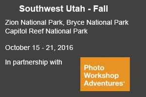 Nature photographer David C Schultz leads a SW Utah autumn photo tour