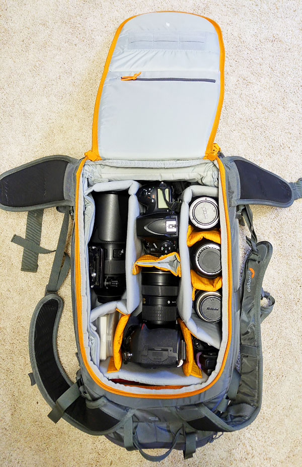 Inside packed LowePro Whistle 450 AW