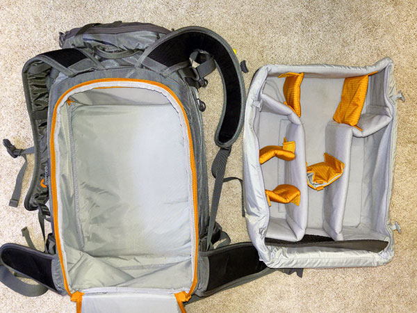 Interior Lowepro Whistler 450