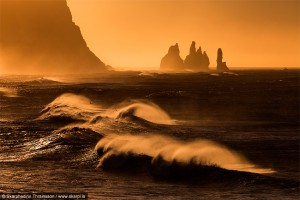Coastline at sunset near Vik, Iceland