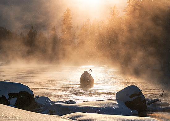 Winter sunrise along the Madison River in Yellowstone National Park
